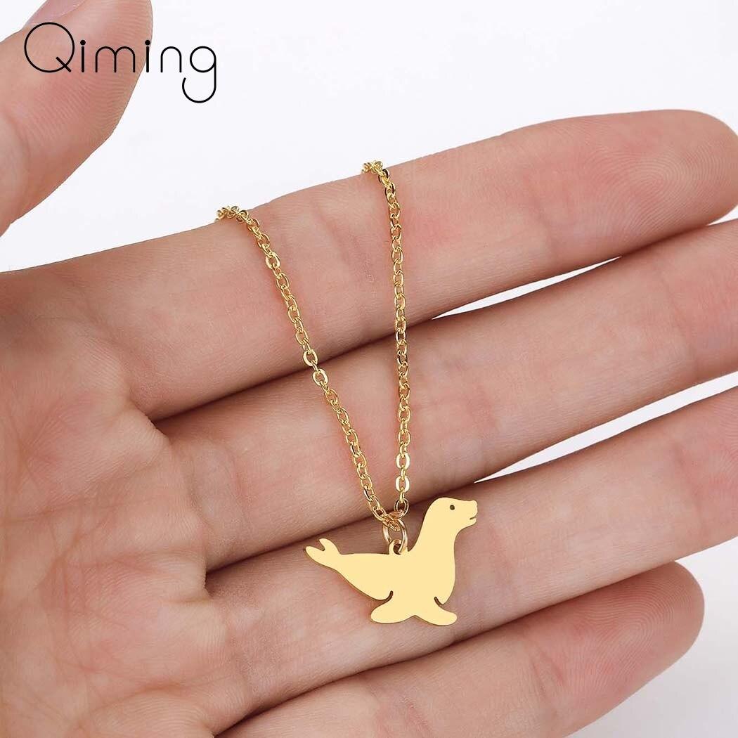 Lovely Sea Animal Walrus Sea Lion Pendant Women Female Sea Ocean Cute Jewelry Birthday Gift Baby Kids Pendant Necklace(China)