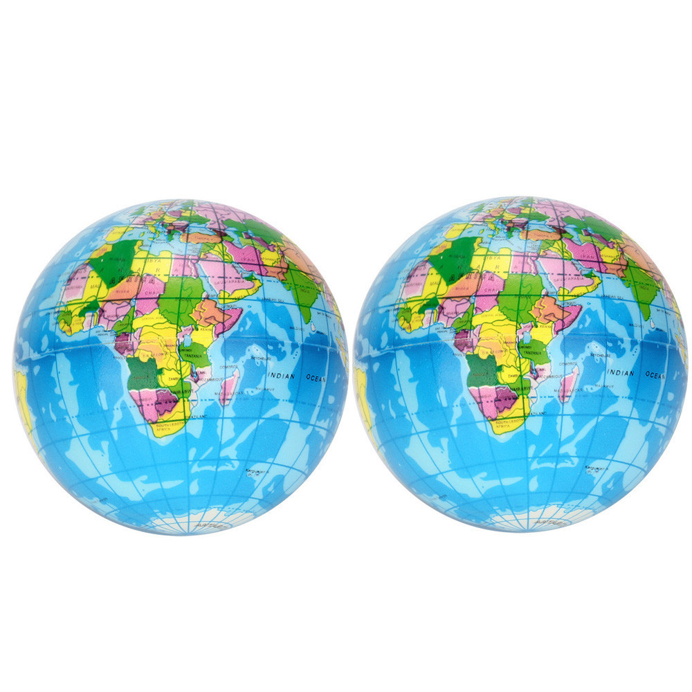 2PCS Stress Relief World Map Simulation Earth Squeeze Toys Vent Decompression Toy Baby Educational Toy Pressure Relief Toy #A