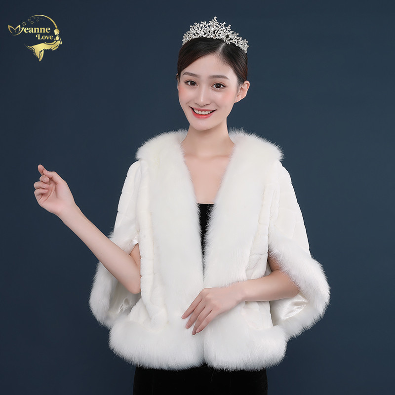 2020 New In Stock Faux Fur Wedding Jacket Wrap Ivory White Shawl Cape Stole Ladies Bolero Shrug For Woman Bridal Coat Party Cape