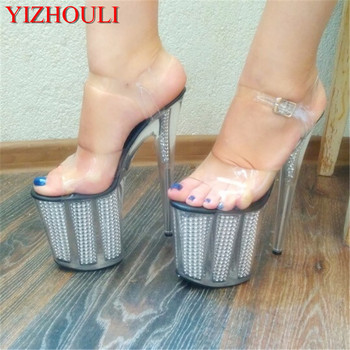 New sexy style 20cm heels, transparent platform sequined sandals, 8in heels, dancing shoes