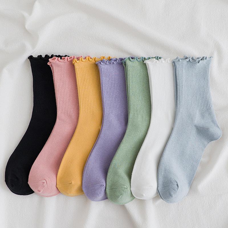 Instagram Hot Socks Women's Fashion Color Solid Socks Cotton Socks Woman Girls Casual Yellow White Green Pink Purple Socks