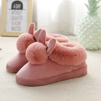 MoneRffi Women's suede home cotton slippers indoor warm cotton drag non-slip slipers for bedroom winter warm comfortable image