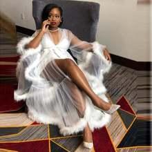 Белыми перьями прозрачная платье как у знаменитости Тюль с длинным
