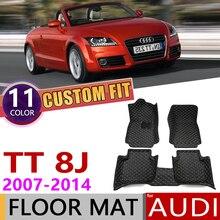 Кожаные автомобильные коврики на заказ для Audi TT Roadster 8J MK2 2007~, 2 места, автомобильные коврики для ног, аксессуары для ковров, 2008, 2009, 2010, 2011