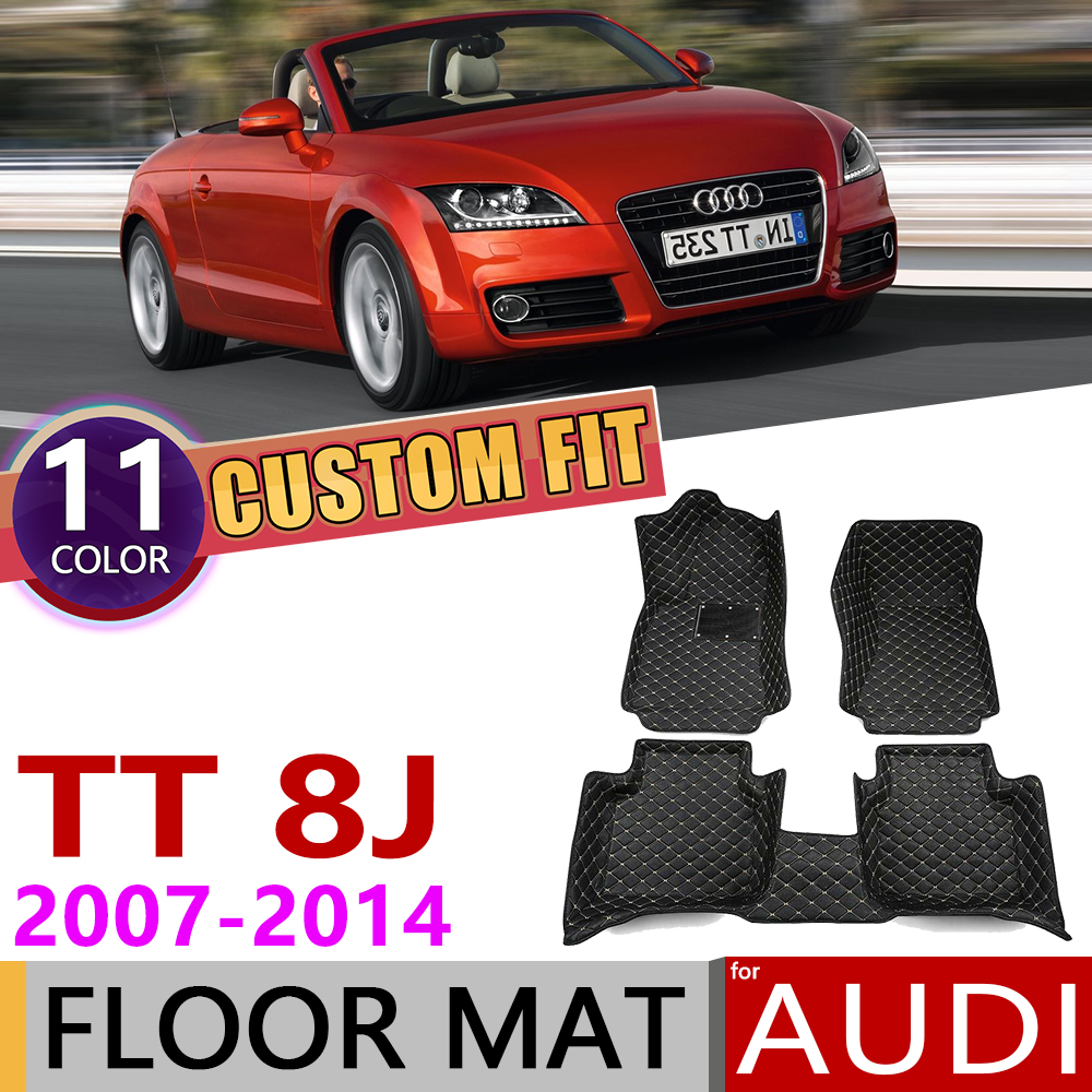 Custom Car Leather Floor Mats For Audi TT Roadster 8J MK2 2007~2014 2 Seats Auto Foot Pad Carpet Accessories 2008 2009 2010 2011