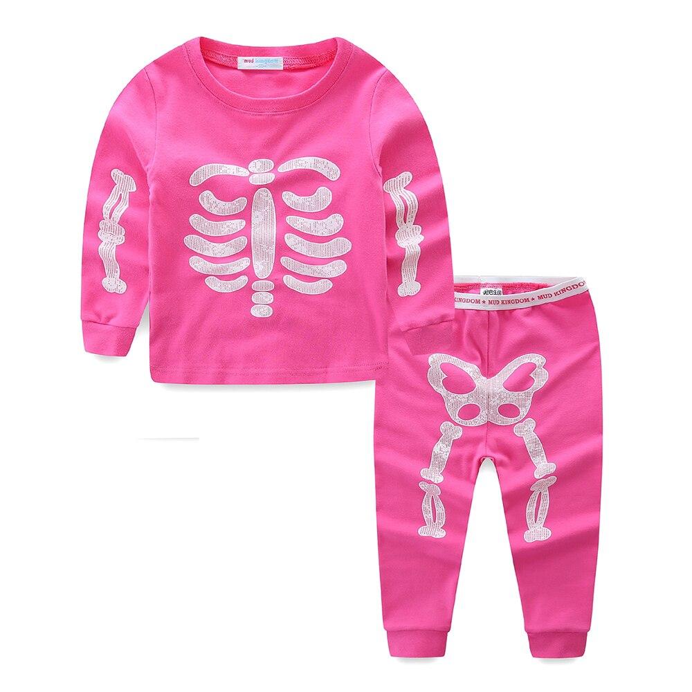 Mudkingdom Little Boys Girls Pajama Set Glowing Halloween Skeleton Fashion Kids Sleepwear Outfits 2
