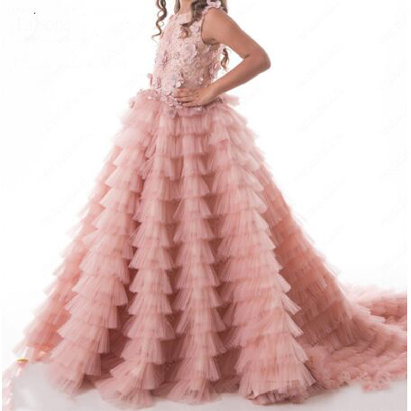 Pretty 3D Flower Appliques Lace Pearls Ruched  Spaghetti StrapsBall Gown Flower Girl Dresses O-neck Sleeveless Communion Gown
