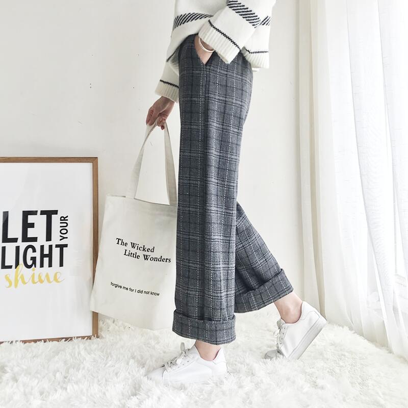 Woherb 2019 Autumn Winter Woolen Plaid Pants Women Elastic High Waist Ankle length Pant Plus Size