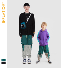 INFLATION Matching Family Outfits  Fanily Jogger Pants Loose Fit Mommy And Me Clothes Father Son Jogger Pants Streetwear Jogger drawstring spliced camo jogger pants