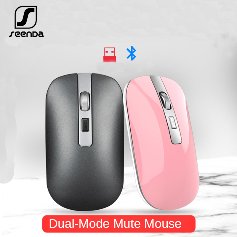 SeenDa Bluetooth Mouse 5.1 + 2.4G Mouse Silent Charging Mouse 1600 DPI Ultra Thin Ergonomic Portable Optical Mice For PC