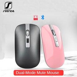 SeenDa Mouse Bluetooth 5.1 + 2.4G Del Mouse Silenzioso Ricarica Del Mouse 1600 DPI Ultra Sottile Ergonomico Portatile Mouse Ottico per PC
