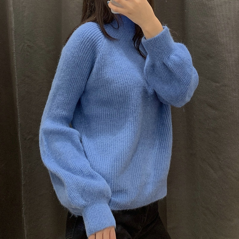 2020 New Fashion Women Winter Autumn Knitted Turtleneck Sweater Pullover Sweater Lady Christmas Blue Jumper Pull Femme Coltrui