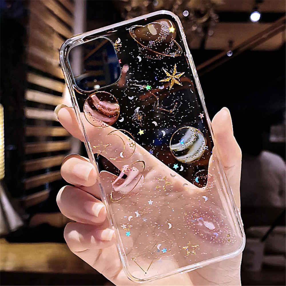 Étui planète paillettes housse Silicone souple pour Xiaomi Mi A2 A3 6X 8 9 SE CC9 CC9e Redmi Note 5 6 7 8 Pro 9 s 10 Lite