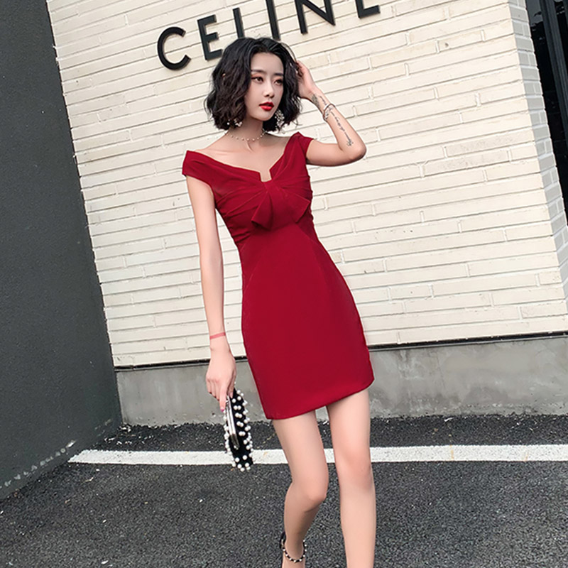 Evening     Dress   Off The Shoulder Robe De Soiree A-line Pleat Women Party   Dresses   2019 Boat Neck Short Sleeve   Evening   Gowns F169