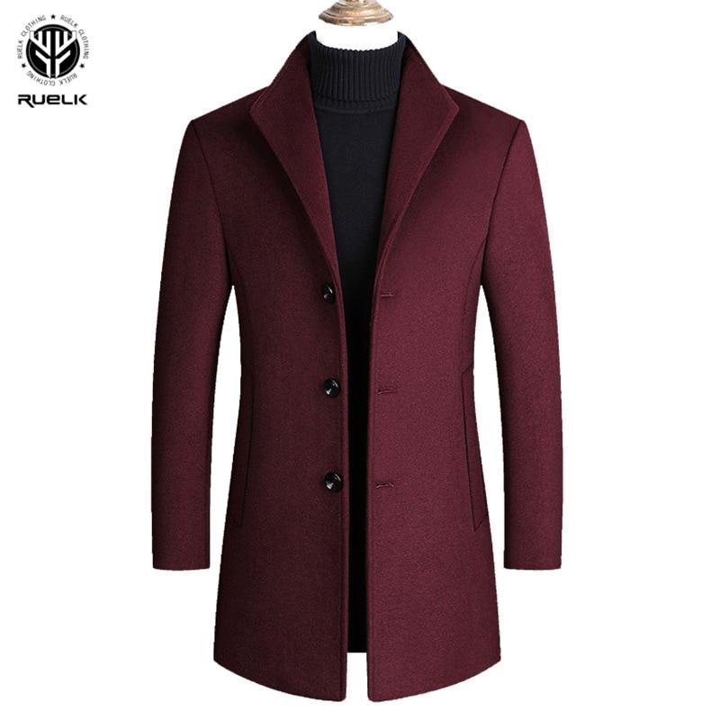 RUELK 2020 Winter Men's Wool Coat Mid-Length Suit Lapel Qui Stitch Classic Solid Color Simple Button Large Size Wool Coat