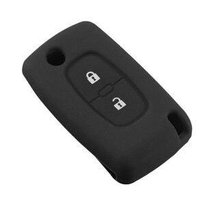 Image 4 - 2 boutons Silicone clé de voiture couvre étui pour PEUGEOT 207 307 308 407 408 pour Citroen C3 C4 C4L C5 C6 housse de protection