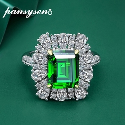 PANSYSEN Pure 925 Sterling Silver 9*11MM Emerald Cut Emerald Created Moissanite Gemstone Rings for Women Wholesale Wedding Gift