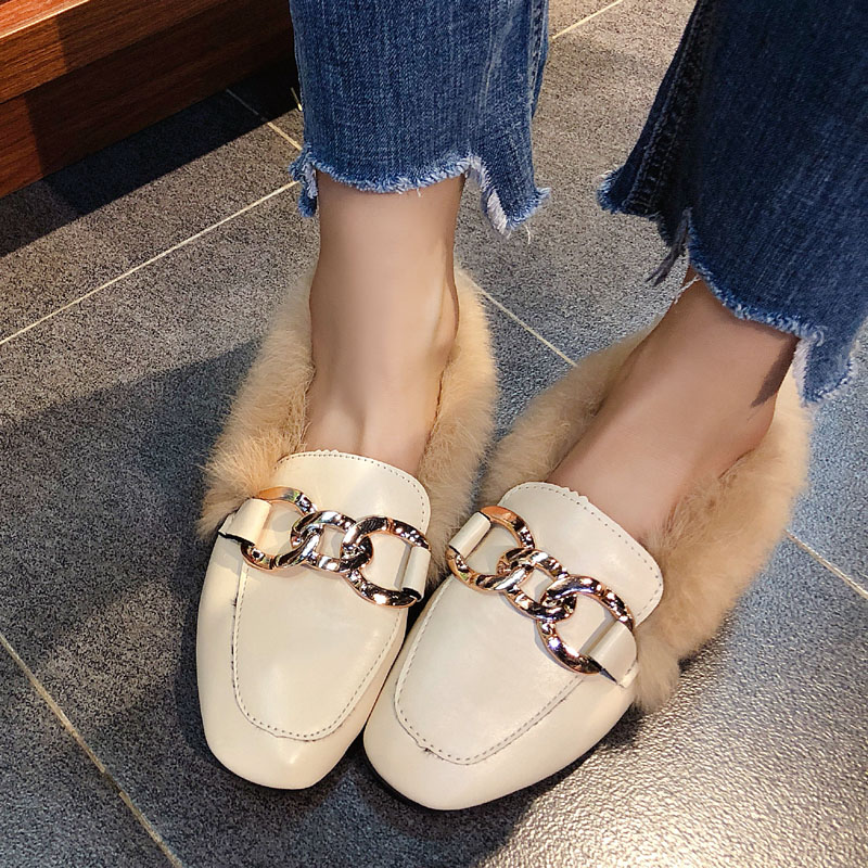 Metal chains leather flats winter loafers women shoes winter warm mules celebrity fur flat creepers soft heel moccasins mujer 45