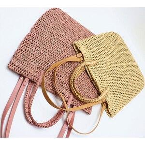 Image 5 - Weaving Hollowกระดาษฟางกระเป๋าสะพายกระเป๋าชายหาด,ผู้หญิงกระเป๋าเดินทางแฟชั่นผู้หญิงCasual Tote