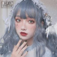 цена на Lolita Synthetic Bangs Wavy Wig For Women Harajuku Blue Gary 70cm Hair Long Curly Heat Resistant For Women Party Use And Cosplay