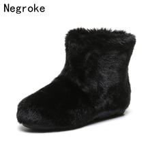 цена на 2019 New Women Ankle Snow Boots Warm Fur Boots Winter Warm Plush Snow Shoes Flats Woman Round-toe Furry Women Shoes
