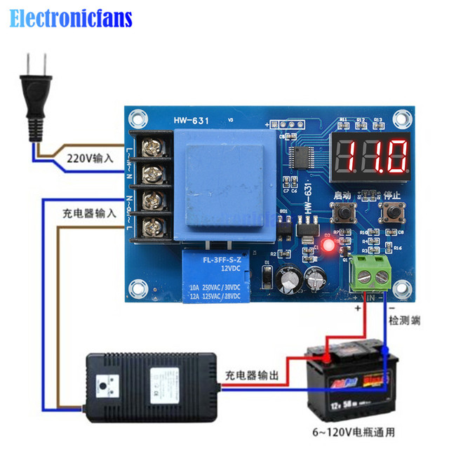 XH M602 Digital Control Battery Lithium Battery Charging Control Module Battery Charge Control Switch Protection Board 3.7 120V