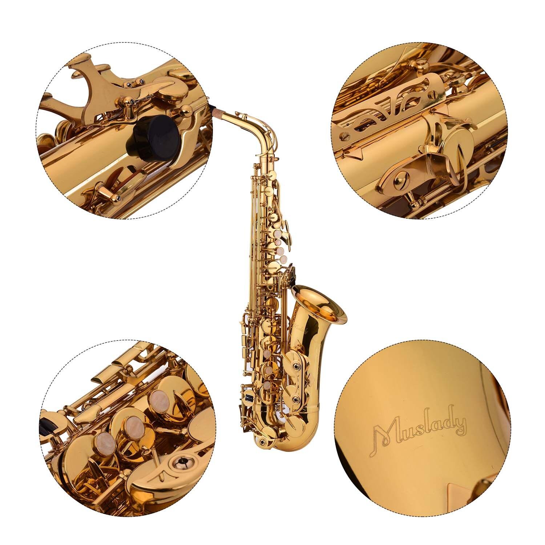 Muslady Golden Eb Altsaxofoon Sax Messing Body Wit Shell Toetsen Houtblazers Instrument Met Carry Case Handschoenen Reinigingsdoekje Borstel - 3
