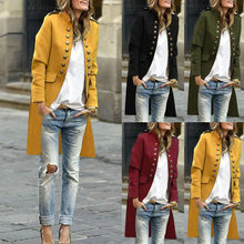 2019 hot producten Vrouwen Herfst Effen Mode Knop Lange Mouw Vest Top Double-Breasted Jas Dropshipping Korting Gratis(China)
