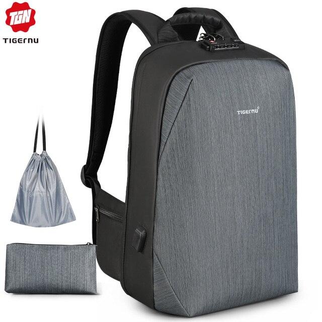 Tigernu RFID sac à dos daffaires avec TSA serrure de voyage pour la Protection de la carte de bagages Anti vol sacs à dos hommes étanche 15.6 ordinateur portable