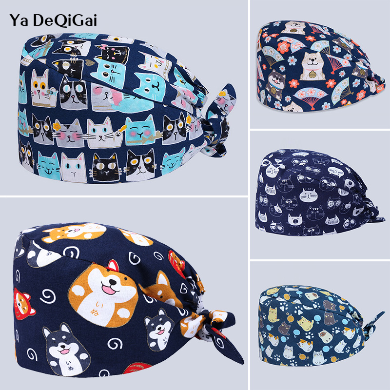 High Quality Printed Medical Surgical Caps Operating Room Pet Hospital Doctor Nurse Caps Unisex Adjustable Dentistry Hats Women