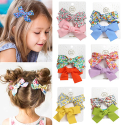 2Pcs/set Boutique Grosgrain Ribbon Printed Color Bows With Clips For Kids Girls Hairgrips Handmade Bow Children Hair Accessories