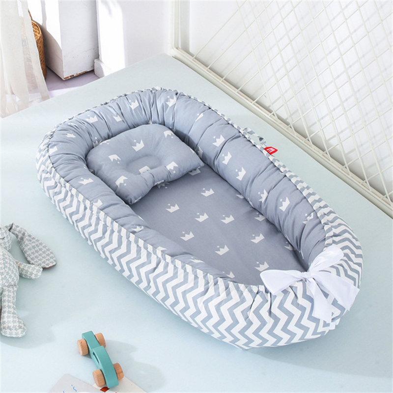 Baby sleeping nest bed with pillow portable anit-pressure crib travel bed Infant Toddler Cotton Cradle Baby Bed Bassinet Bumper