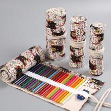 36/48/72 Holes Pencil Bag Lucky Cat Print Canvas Roll Up Pen Curtain Case Makeup Wrap Holder Storage Pouch School Supplies