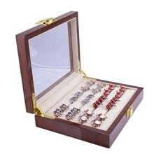 مجوهرات فاخرة صندوق زجاجي تخزين 12Pairs قدرة حلقة صندوق رسمت صندوق خشبي أصيلة حجم 185x150x46 مللي متر