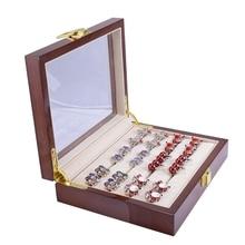 Biżuteria luksusowe szklane pudełko do przechowywania 12 par pojemność pudełko na pierścionek malowane drewniane pudełko autentyczny rozmiar 185x150x46Mm