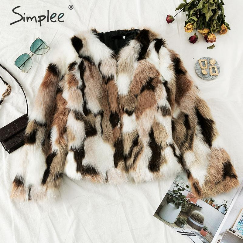 Simplee 2019 New winter fake fur V-neck buttons coats women Elegant fluffy long sleeve jackets Female warm office casual outwear 2