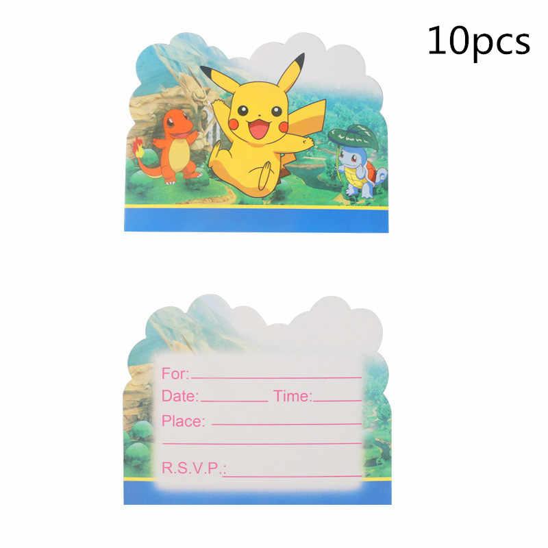 10 PC Pokemon Partai Undangan Kartu untuk Anak-anak Pesta Ulang Tahun Jenis Kelamin Mengungkapkan Baby Shower Persediaan Pernikahan Dekorasi Anak Nikmat