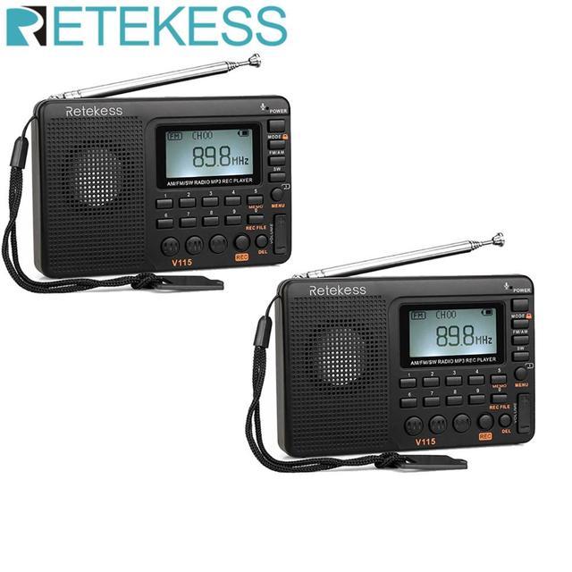 2 قطعة Retekess V115 FM/AM/SW راديو استقبال باس الصوت مشغل MP3 REC مسجل صوتي مع النوم الموقت راديو متعدد الموجات