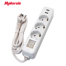 Makerele Power strip 16A 250V Extension Socket with 2A 5V 2 USB charging ports wireless wire extension converter EU Adapter