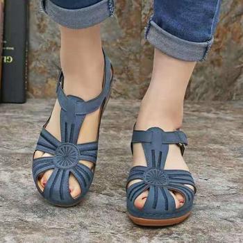 صنادل النساء 2020 أحذية الصيف الجديدة امرأة لينة أسفل أسافين أحذية النساء صنادل أرضية الكعوب المصارع Sandalias Mujer 1
