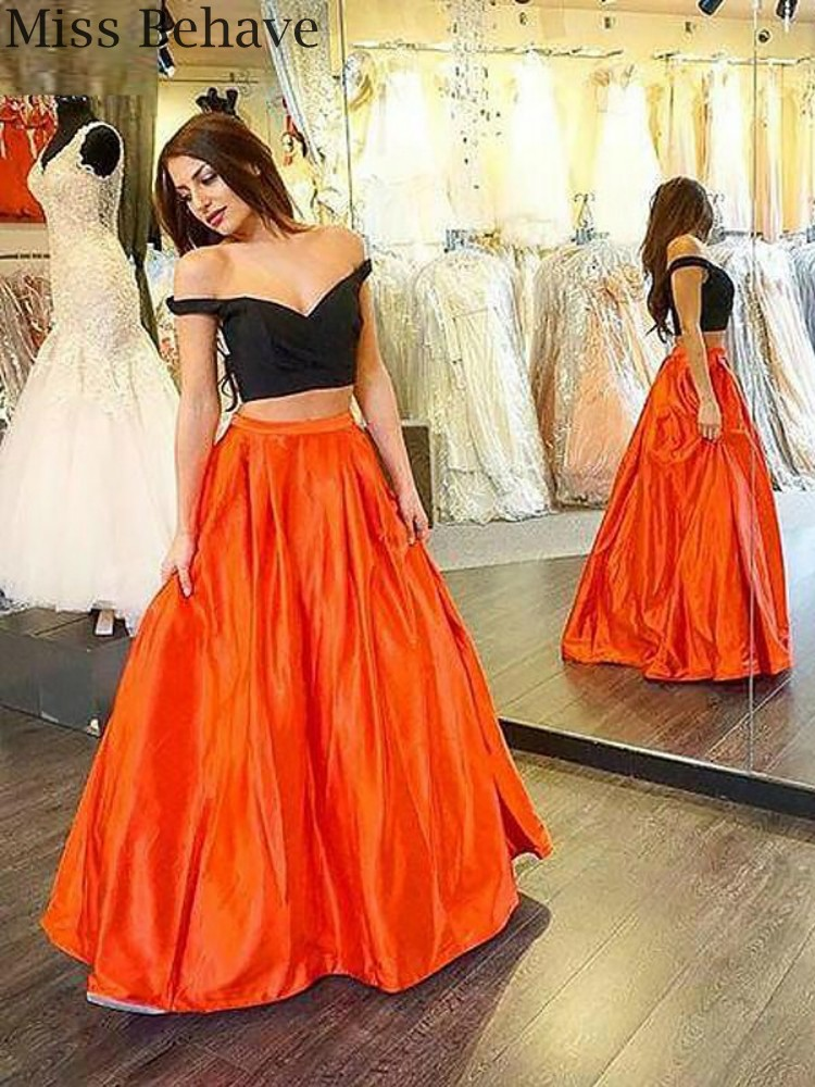 DD JYOY New Design 2 Pieces Satin Evening Dress Long Black Body Off Shoulder Zipper Back Evening Gown Party