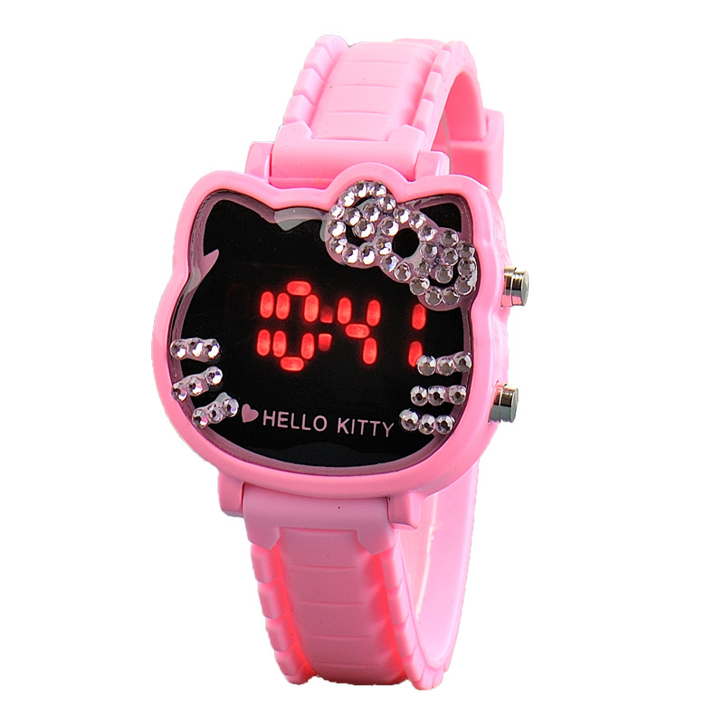 Hello Kitty Women Kids Watches Cute Childrens Cartoon Electronic Sports Watch Gifts For Girls Silicone Clock