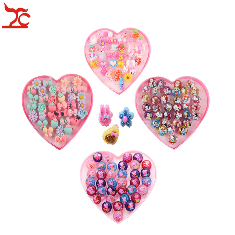 Creative 36pcs/lot Cute Cartoon Children's Ring Set Little Girl Birthday Gift Lovely Children  Jewelry Accessories Storage Box