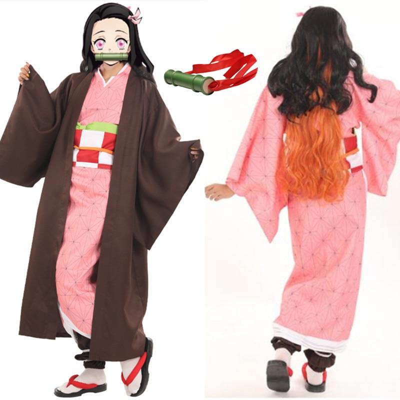 Demon Slayer: Kimetsu No Yaiba Women Kamado Nezuko Costume Sister Pink Dress With Cape Full Sets  Role Play Costumes Wig