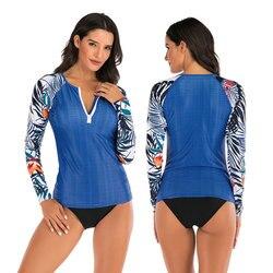 Duas peças femininas zip-up manga longa rash guard camisa e triângulo bikini fundo maiô uv proteção solar maiô impresso