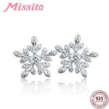 MISSITA 100% 925 Sterling Silver Snowflake Shape Earrings For Women Jewelry Brand Anniversary Stud Christmas