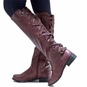 Image 3 - MORAZORA 2020 big size 43 women knee high boots zip buckle autumn winter boots square heels comfortable casual shoes ladies