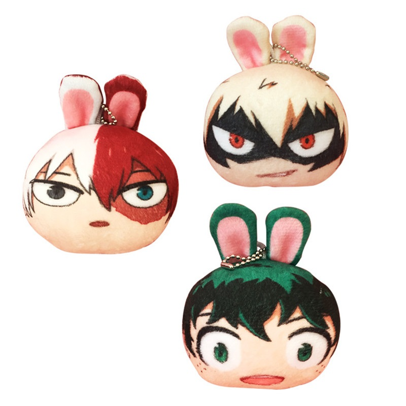 Japanese Stuffed Plush Toys My Hero Cartoon Soft Anime Academia Keychain Small Pendant Bag Key chain Kids Toy Gifts 8-10cm