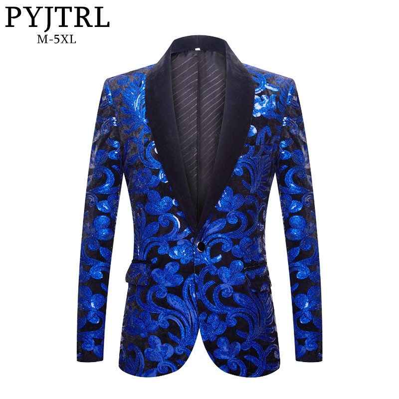 PYJTRL Men Fashion Shawl Lapel Royal Blue Black Velvet Floral Shiny Sequins Blazers Wedding Groom Prom Singers Slim Suit Jacket
