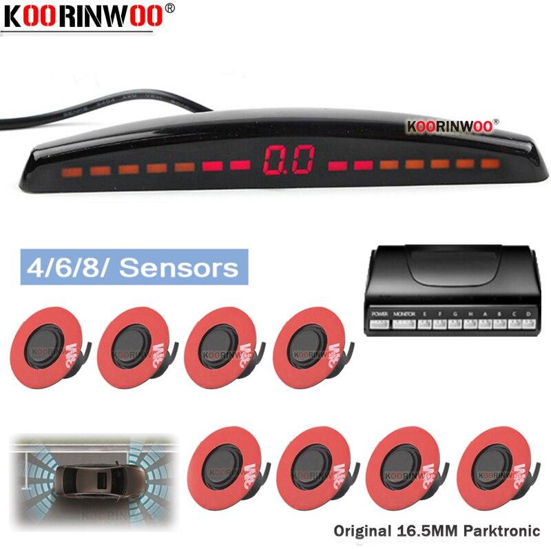 Koorinwoo Auto Monitor Flache Elektromagnetische Parkplatz sensor mit 4/6/8 Sensor Reverse-Parkplatz Radar Summer Detektor Einparkhilfe